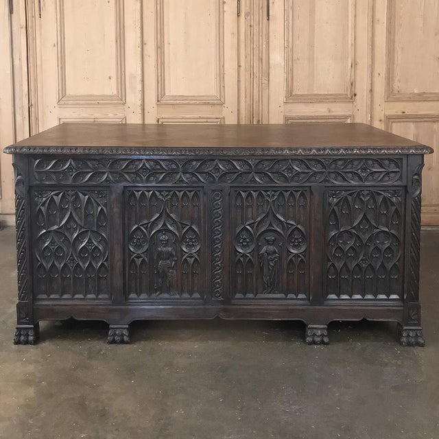 Antique French Gothic Parquet Top Desk For Sale - Image 13 of 13