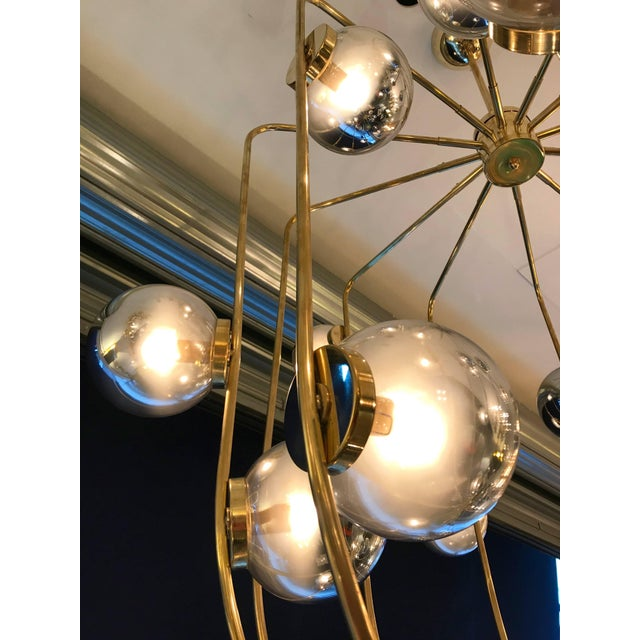 2010s Contemporary Chandelier Brass Cage. Italy For Sale - Image 5 of 11