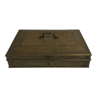 Large 19th Century Bronze Document Box With Heavy Chasing For Sale