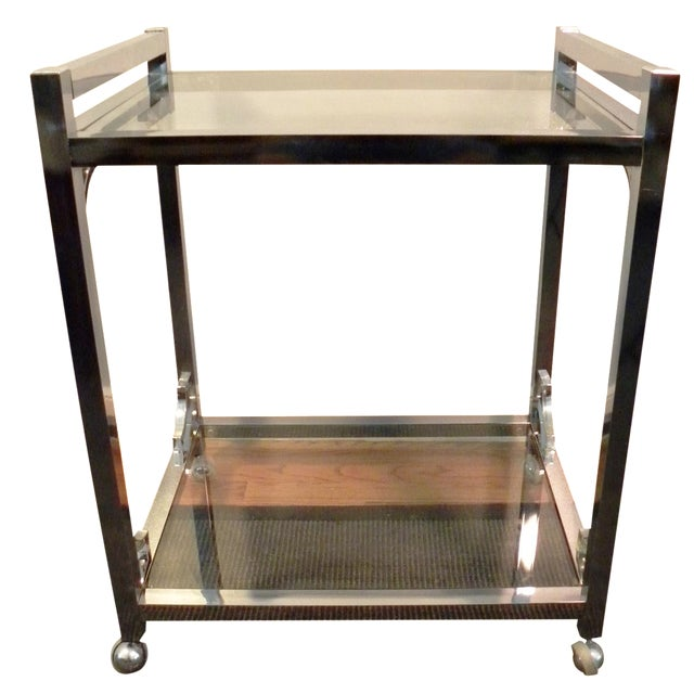 Mid-Century Chrome & Glass Bar Cart - Image 1 of 8