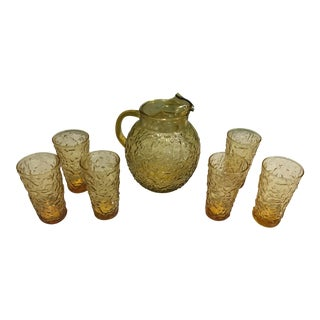 Amber Pitcher and Glasses Set - 7 Piece Set For Sale