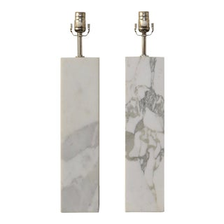 1940s Block Table Lamps by Nessen in White Marble - a Pair For Sale
