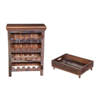 Clayera Wine Rack & Fortney Serving Tray - a Pair