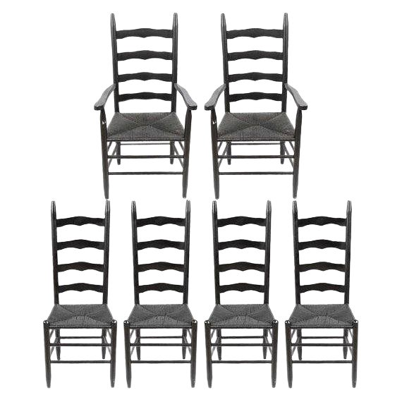 Vintage Country Farmhouse Rush Seat Ladder Back Black Dining Chairs - Set of 6 For Sale