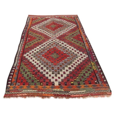 "Vintage Turkish Kilim Rug - 5'2"" X 8'6"" For Sale"