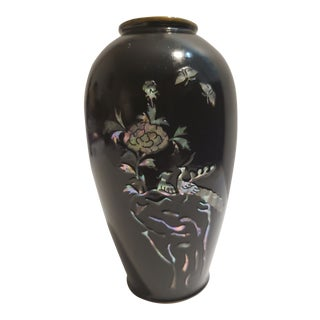 1960s Vintage Black Bud Vase With Inay For Sale