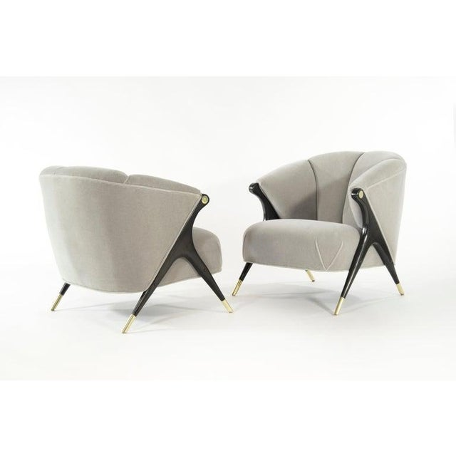Stunning and rare pair of lounge chair by Karpen of California, circa 1950s. Newly upholstered in grey alpaca velvet,...