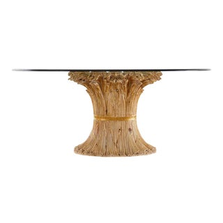 Italian Chelini Carved Wheat Sheaf Oval Dining Table For Sale