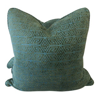 """Schumacher """"Cosmati Chenille"""" in Boxwood 22"""" Pillows-A Pair For Sale"""