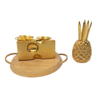 Mid Century Cheese and Pineapple Bar Set and Cutting Board - 3 Pieces For Sale