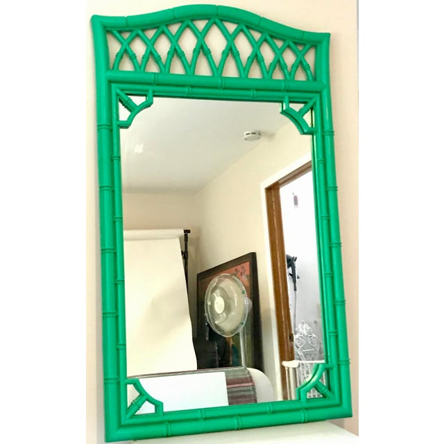 Boho Chic 1970s Boho Chic Kelly Green Faux-Bamboo Mirror For Sale - Image 3 of 3