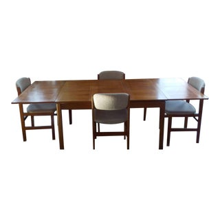 1990s Danish Modern House of Denmark Teak Dining Set - 5 Pieces For Sale