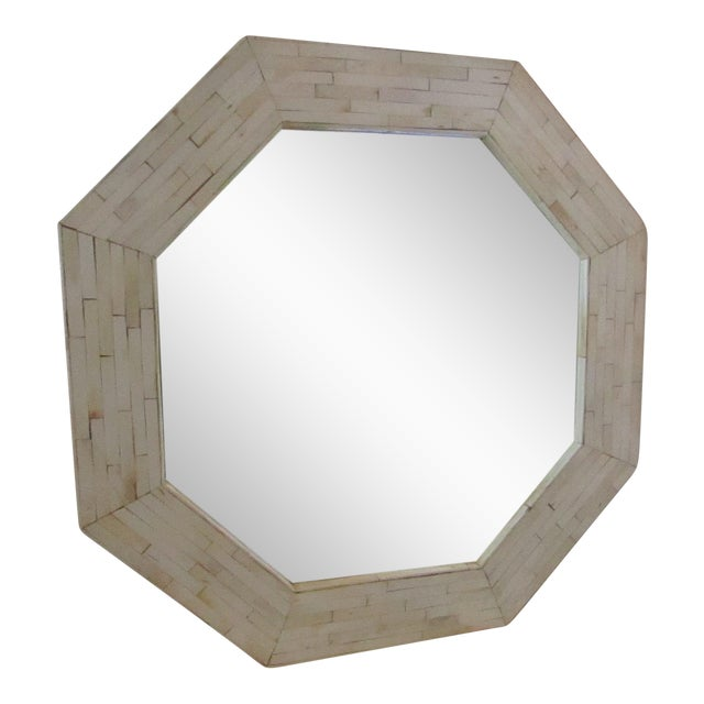 Patterned Bone Inlay Octagon Mirror - Image 1 of 4