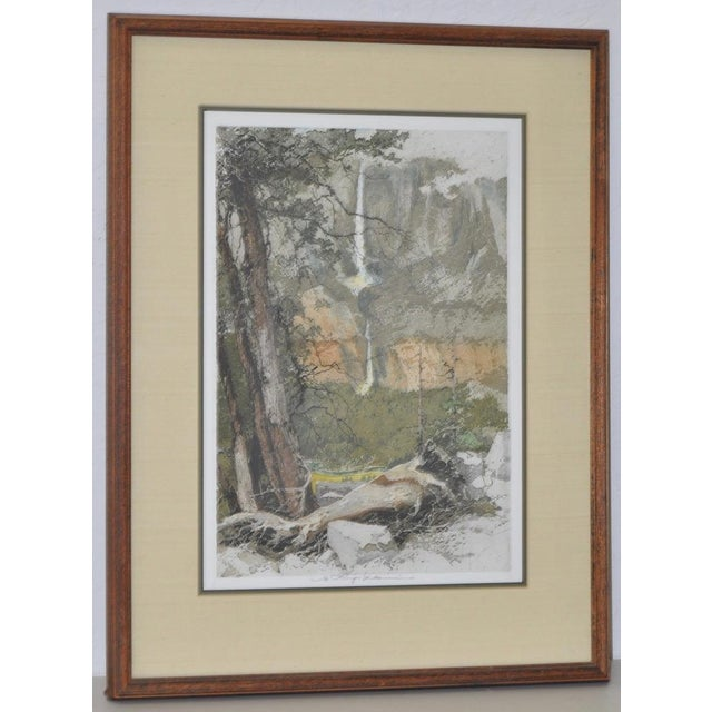 Fine colored etching by listed artist Luigi Kasimir. Signed by the estate in pencil. The scene depicts Yosemite, the upper...