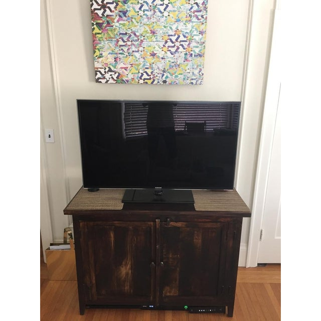 Wood Shabby Chic Wooden Storage Cabinet For Sale - Image 7 of 10