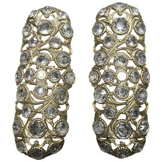 1970s Italian Bronze Sconces Embellished with Crystals - a Pair For Sale