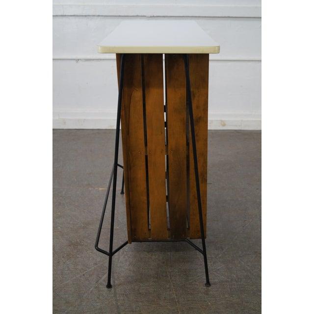 Mid-Century Modern Arthur Umanoff Iron Frame Wood Slat Bar For Sale - Image 3 of 10