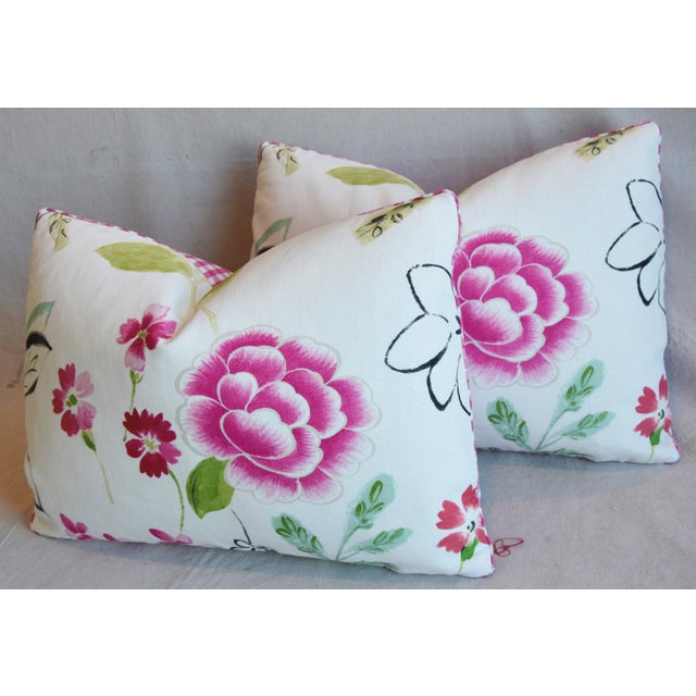 "Green French Manuel Canovas Floral Linen Feather/Down Pillows 22"" X 16"" - Pair For Sale - Image 8 of 13"