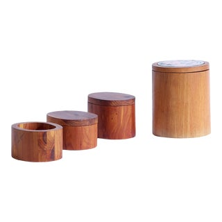 1970s Handmade Wood Canisters by Houston, Texas Jewelry Artists John and Edith Hempel - Set of 4 For Sale