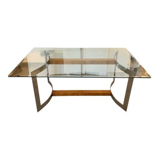 Burlwood, Stainless Steel, Glass Table For Sale
