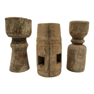 Primitive Salvaged Wood Candle Holders - Set of 3 For Sale