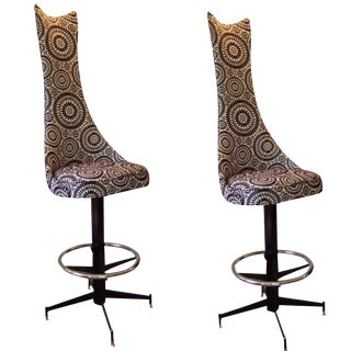 Pair of Ultra High Back Barstools
