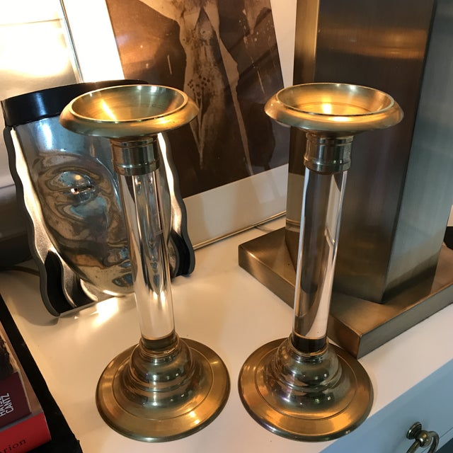 Brass & Lucite Candlesticks - A Pair - Image 4 of 4