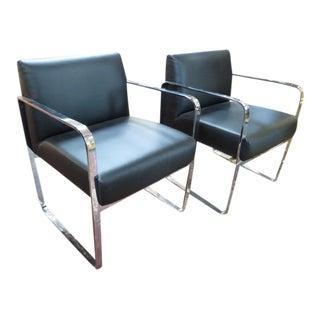 Vintage Mid Century Modern Brueton Black Leather Armchairs- A Pair For Sale