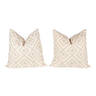 Light Gray Linen David Hicks Fiorentina Pillows - a Pair