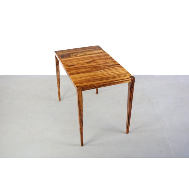 1970s Danish Modern Zebra Wood Writing Desk/Console Table For Sale In Orlando - Image 6 of 7