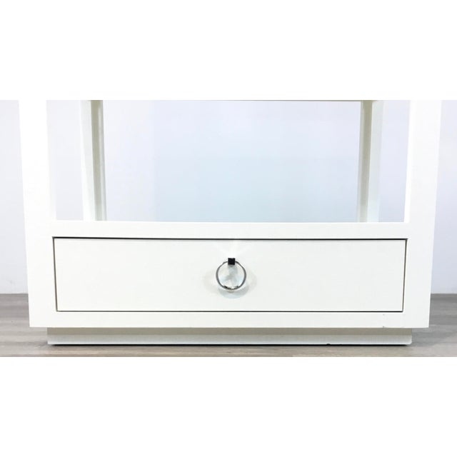 Bungalow 5 Bungalow 5 Modern White Lacquer Grasscloth Camilla Etagere For Sale - Image 4 of 6