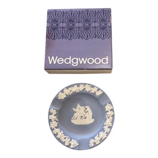 Wedgwood Jasperware Pale Blue Round Ashtray Queensware With Original Box For Sale