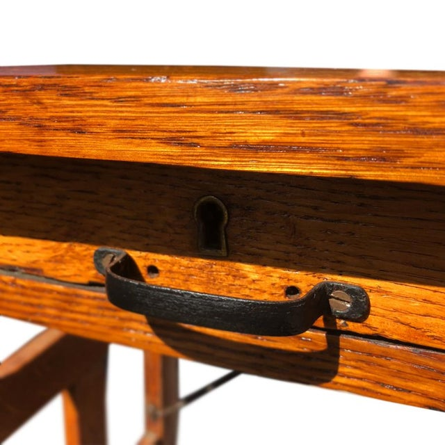 Antique Arts & Crafts Mission Oak Portable Typewriting Table Writing Desk For Sale - Image 4 of 6