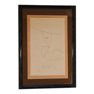 1950s Vintage Jean Cocteau Man With the Hat Signed Lithograph Print For Sale
