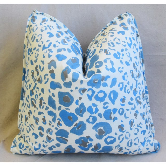 """Early 21st Century Pindler & Pindler Leopard Animal Spot & Velvet Feather/Down Pillows 20"""" Square - Pair For Sale - Image 5 of 13"""