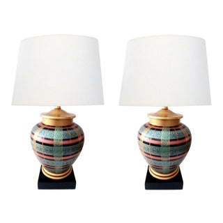 1980s Frederick Cooper Ovoid-Form Lamps With Plaid Decoration - a Pair For Sale