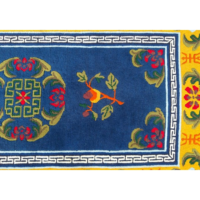 Chinoiserie Hand-Knotted Wool, Asian Navy Blue Rug - 3′ × 6′4″, Vintage For Sale - Image 3 of 8