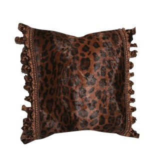Vintage Cheetah Pillow With Tassel Fringe For Sale