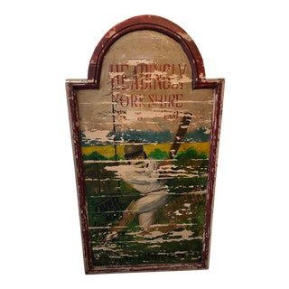 19th Century English Hand-Painted and Framed Wood Cricket Club Sign For Sale