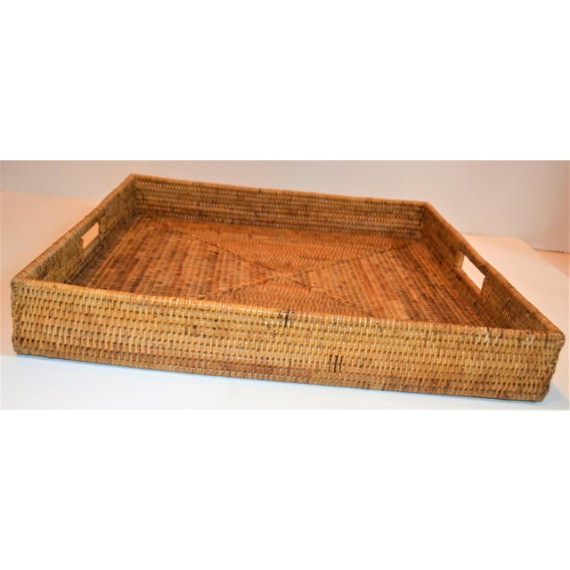 Square Wicker Woven Honey Colored Tray For Sale In Houston - Image 6 of 7