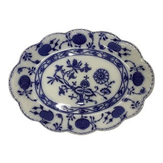 "1900s Johnson Bros England Flow Blue ""Holland"" Oval Platter For Sale"