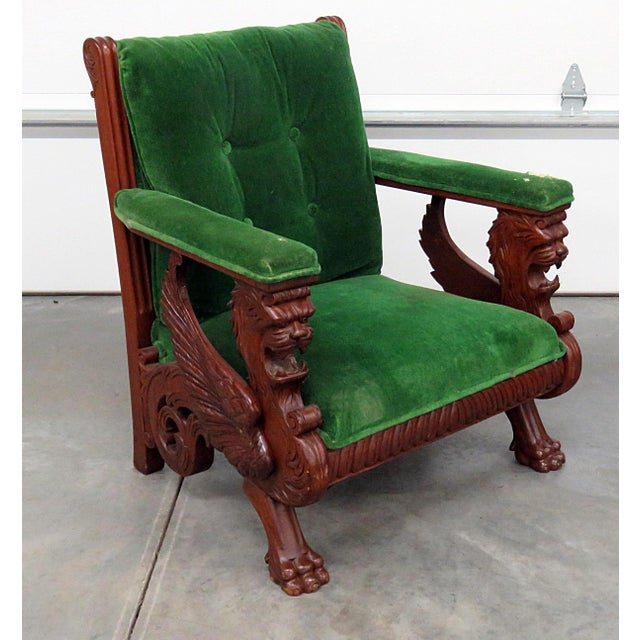 Green Renaissance Style Green Velvet Upholstered Winged Griffin Chair For Sale - Image 8 of 8