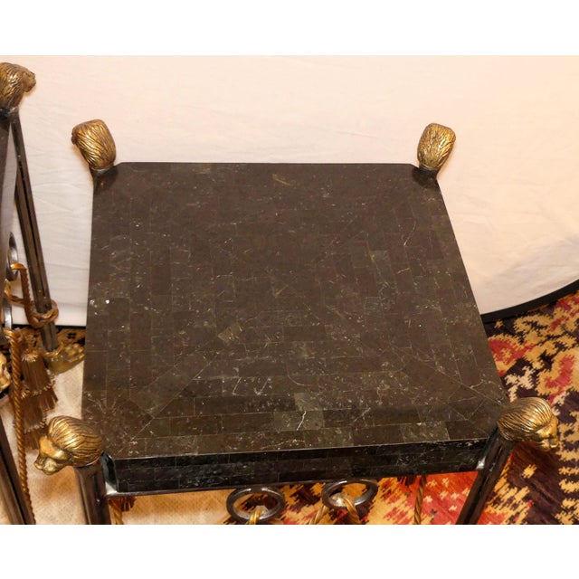 Metal Maitland Smith Hollywood Regency Iron & Brass Tassel Table With Brass Lion Heads- a Pair For Sale - Image 7 of 11