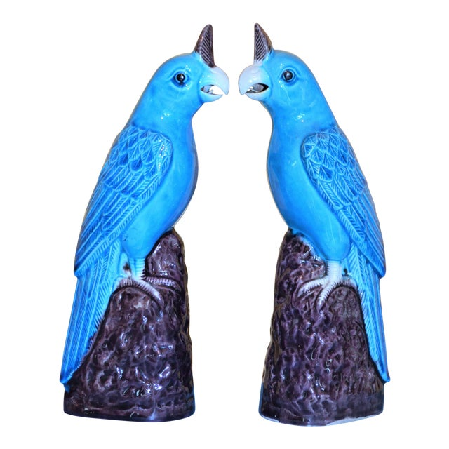 1950s Chinese Turquoise Porcelain Parrot Figurines - a Pair For Sale