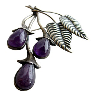 1950's Mexican Sterling Silver + Amethyst Vining Berry Brooch For Sale