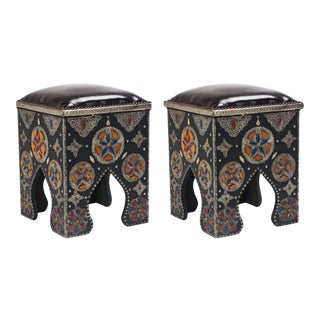 Hollywood Regency Style Moroccan Stools- a Pair For Sale