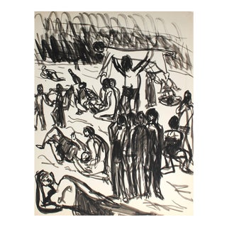 Jennings Tofel Mid-Century Expressionist Figures Drawing in Ink For Sale