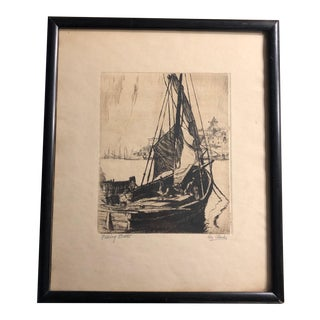 """1950s Traditional Pencil Sketch, """"Fishing Boats"""" by Clarke For Sale"""