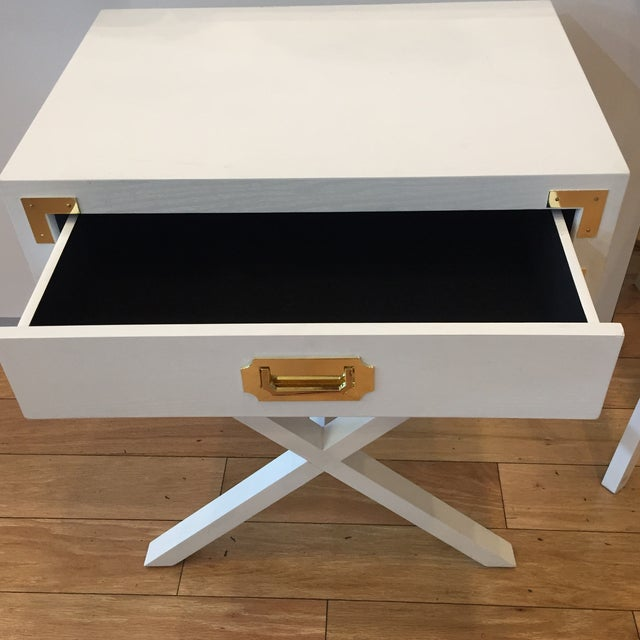Art Deco Campaign Port to Port Single Drawer Table For Sale - Image 3 of 4