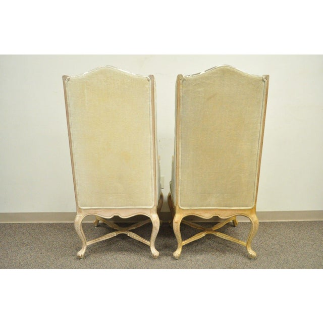 Pair of Hollywood Regency French Country Carved Wing Back Fireside Lounge Chairs - Image 6 of 11